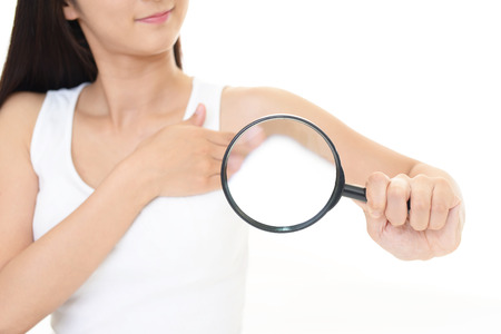 adult armpit: Woman with a magnifying glass