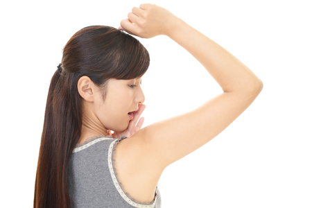 underarm: Surprised Asian woman