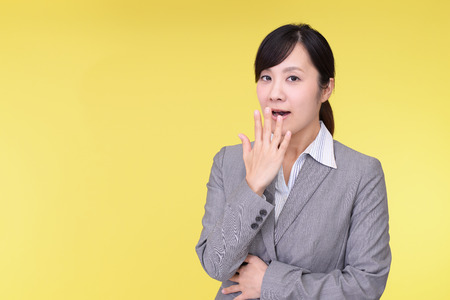 anaerobic: Surprised Asian business woman