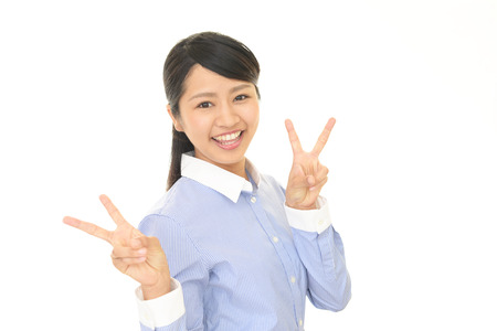 The woman who smiling happy Stock Photo