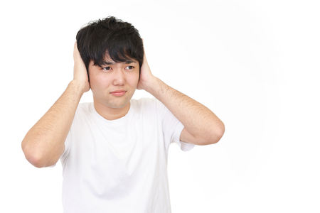 anaerobic: Man who holds his ears Stock Photo