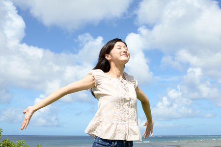 Woman enjoy the sun. Stock Photo