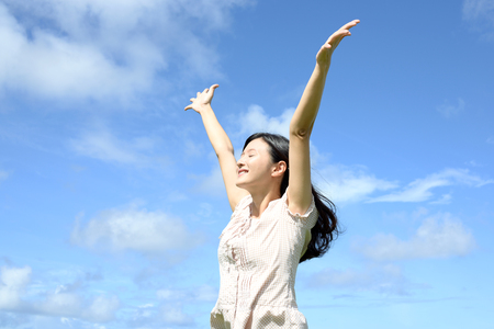 the firmament: Woman enjoy the sun. Stock Photo