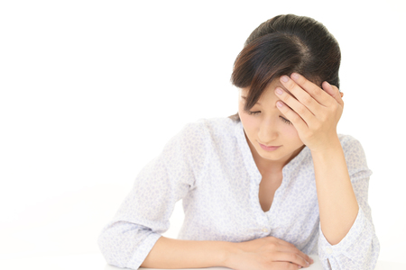 Woman who has a headache 版權商用圖片