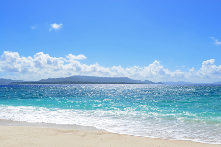 Summer sky and beautiful beach of Okinawa Stock Photo