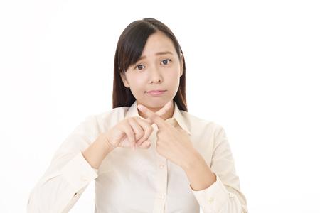 Vrouw die verbazend gebaar aantoont Stockfoto