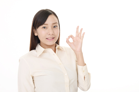Woman with ok hand sign
