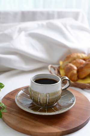 decaf: Breakfast of coffee and bread Stock Photo