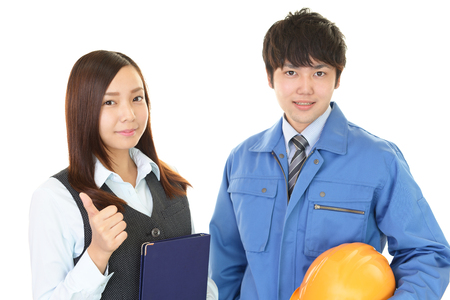 Smiling worker with business woman