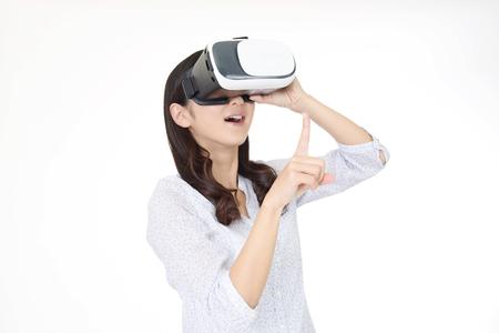 Woman wearing virtual reality goggles