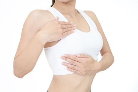 乳がんセルフ チェック、健康的なライフ スタイルのコンセプト