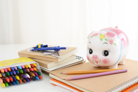 Piggy bank with stationaries