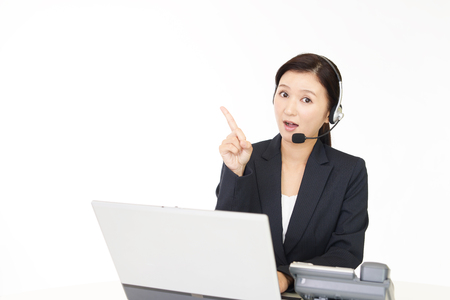 uneasy: Operator with an uneasy look Stock Photo