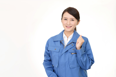 construction project: Smiling female worker