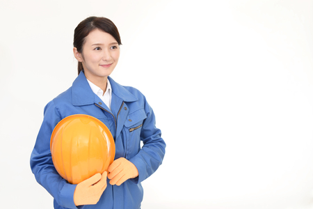 construction project: Portrait of a female worker Stock Photo