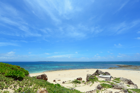 Summer sky and beautiful beach of Okinawa Stock Photo