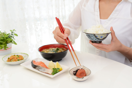 Woman who enjoys Japanese food