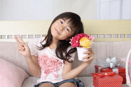 アジアの女の子の笑顔 写真素材