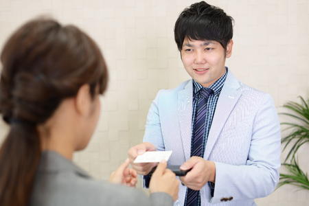 Business card exchange Stock Photo