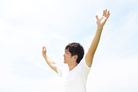 Man enjoy the sun. 免版税图像