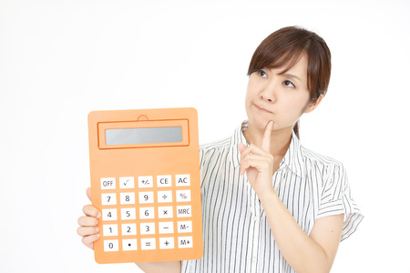 Woman with calculator