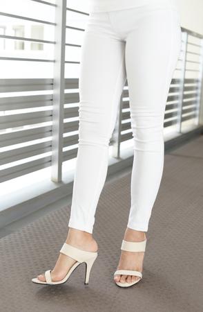 Woman wearing high heel sandals Stock Photo