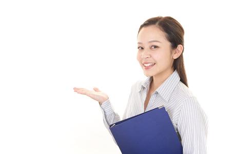Portrait of a woman doing a presentation
