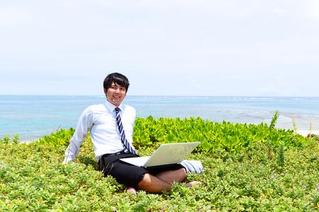 Man enjoy the sun. Stock Photo