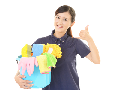A female Janitorial cleaning service Stockfoto