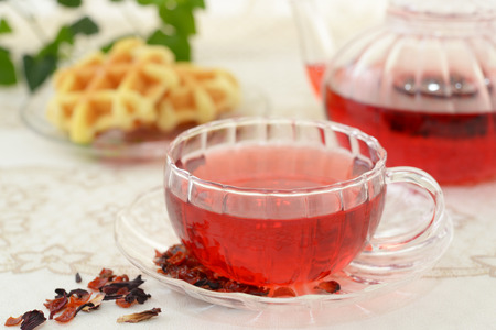 A cup of tea with pot Stock Photo