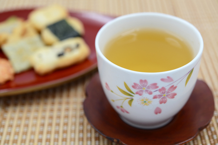Rice crackers and cup of tea