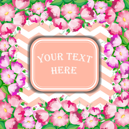 tender: Tender invitation with pink flowers and light background