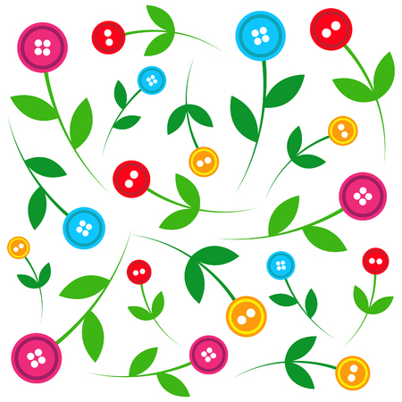 findings: Button flower pattern on white background
