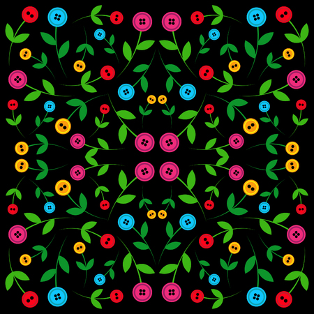 findings: Button flower pattern on black background