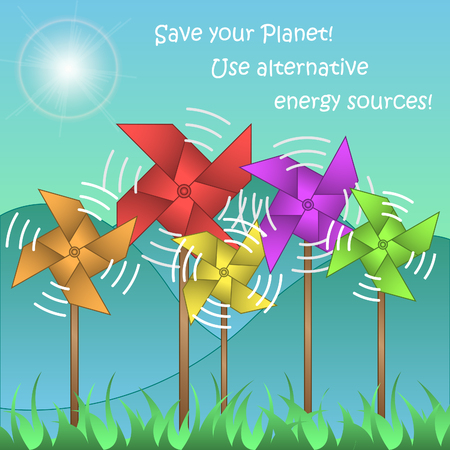 alternative energy sources: Illustration with windmills on landscape background and text Save your Planet! Use alternative energy sources!