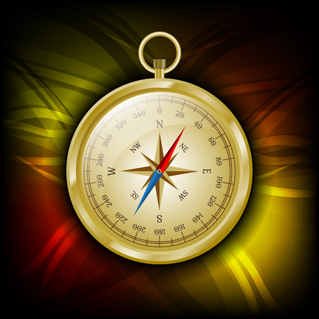 compass rose: Glossy golden compass with wind rose on abstract background. Illustration
