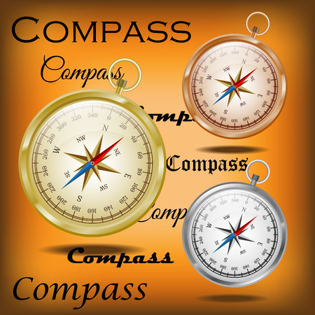 cooper: Glossy golden, cooper and silver compasses on the old paper background