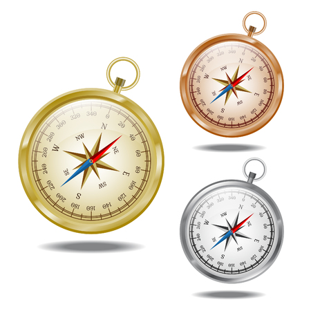 cooper: Glossy golden, cooper and silver compasses on the white background