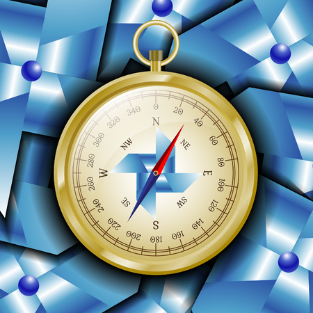 compass rose: Glossy golden compass with wind rose on pinwheel abstract background. Illustration