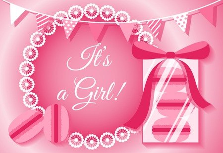baby girl: Its a girl card with macaroons. Baby shower card