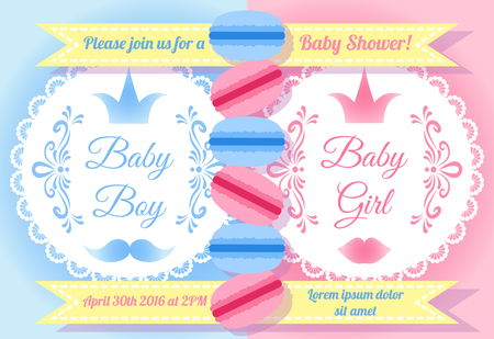 baby girl: Baby shower invitation card Baby Boy or Baby Girl Illustration