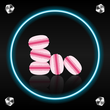 mirror reflection: Macaroons, their mirror reflection, bolts on the dark background Illustration