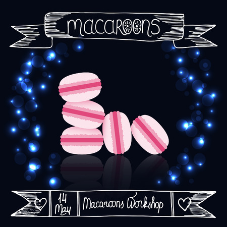 reflection mirror: Macaroons, their mirror reflection, lights and banners on the dark background