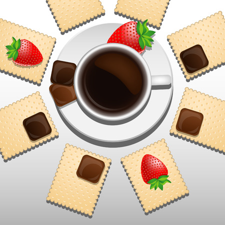 crackers: Coffee cup on the plate with crackers, strawberry and chocolate. Realistic style Illustration