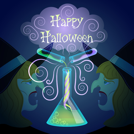 Halloween magic. Halloween chemistry. Poison beaker and poison vials with cloud of smoke. Witch head background. Illustration