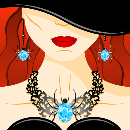 diamond necklace: Halloween witch and necklace with diamond spider. Beautiful girl in black dress and black hat. Necklace and earrings set with blue diamond spider. Jewelry set presentation