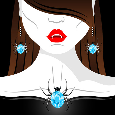 red lips: Vampire girl with red lips, fangs and diamond spider jewelry set. Jewelry set presentation. Halloween vampire.