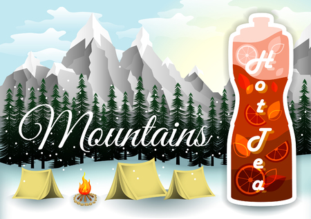 Hot tea bottle presentation. Winter camping, tracking and hiking poster. Mountain and outdoor adventure. Mountains landscape. Camping in wood with tents and bonfire.