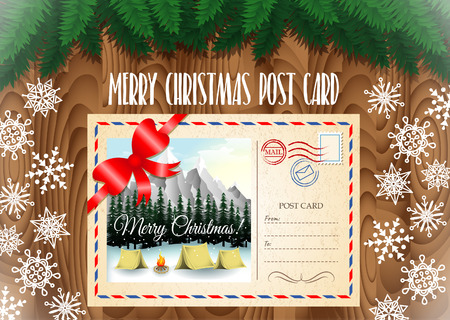 merry christmas post card design merry christmas post card on the wood table with christmas