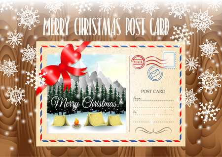 merry christmas post card design merry christmas post card on the wood table and snowflakes
